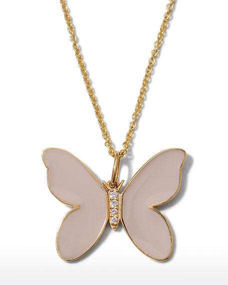 Sydney Evan 14K Beige Enamel Diamond Butterfly Necklace