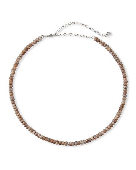 Sydney Evan 14k White Gold Diamond Rondelle and Moonstone Necklace