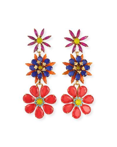 Astrid Crystal 3-Flower Earrings