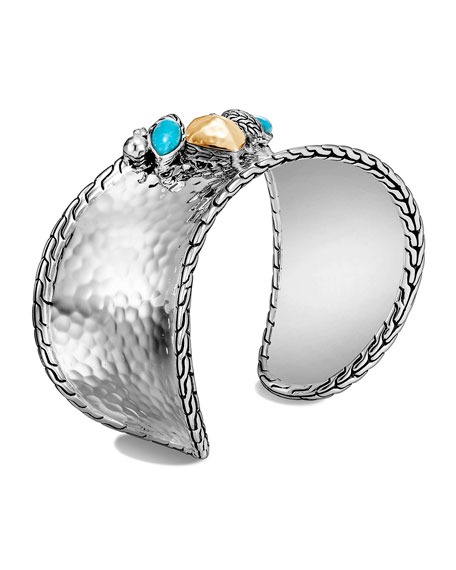 John Hardy Classic Chain Hammered Turquoise and Moonstone Cuff, Size M
