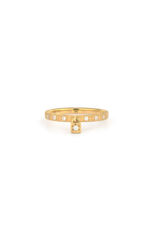 Jude Frances Provence 18k Diamond Band and Charm Ring, Size 7