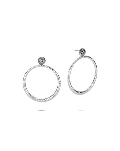 Classic Chain Hammered Silver Round Earrings