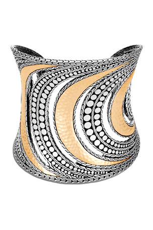 John Hardy Dot Hammered Cuff in Two-Tone, Size M