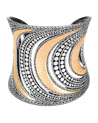 Dot Hammered Cuff in Two-Tone  Size M
