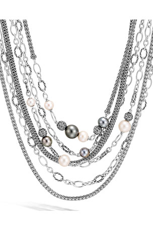 John Hardy Classic Chain Pearl Cluster Necklace