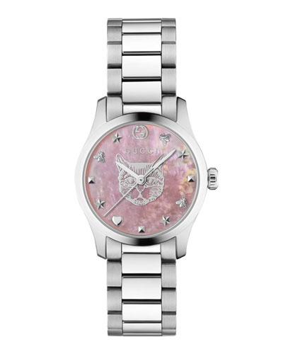 27mm G-Timeless Bracelet Watch w/ Feline  Pink