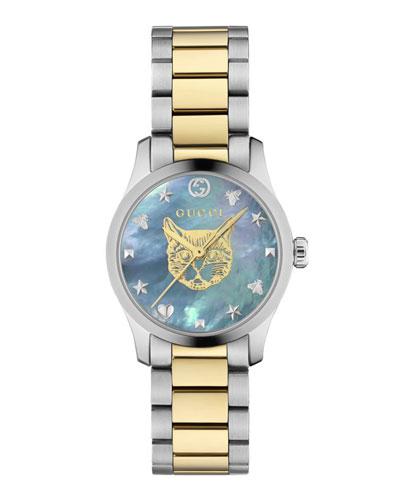 27mm G-Timeless Bracelet Watch w/ Feline  Blue