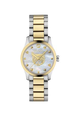 Gucci 27mm G-Timeless Bracelet Watch w/ Feline, White Mother-of-Pearl