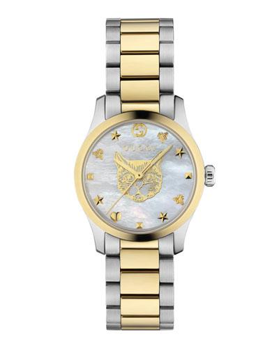 27mm G-Timeless Bracelet Watch w/ Feline  White Mother-of-Pearl