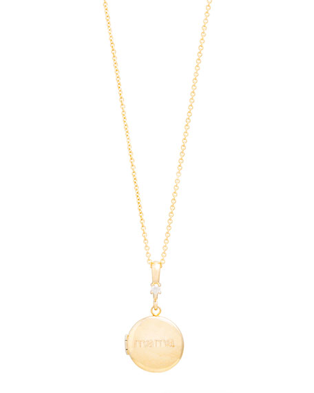 STONE AND STRAND Personalized Round Locket Necklace with Diamond
