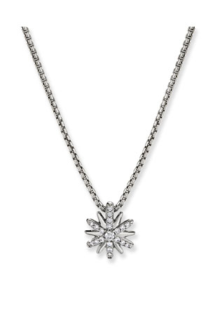 David Yurman Petite Starburst Diamond Pave Pendant Necklace