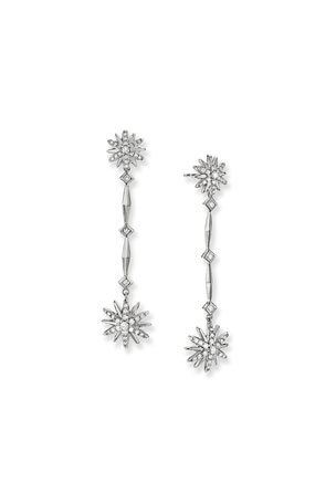 David Yurman Starburst Long Drop Earrings in Sterling Silver with Diamonds