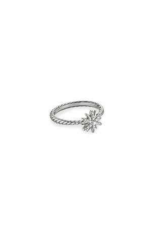 David Yurman Petite Starburst Station Ring with Pave Starburst, Size 5-8