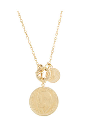 ADINAS JEWELS Double 14K Gold Coin Pendant Necklace