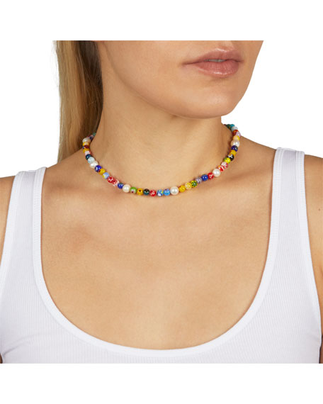 Rebecca Minkoff Rainbow Bead Collar Necklace