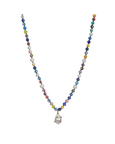 Rainbow Bead Long Necklace