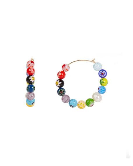 Rebecca Minkoff Rainbow Bead Hoop Earrings
