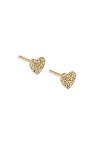 ADINAS JEWELS Diamond Heart Stud Earrings