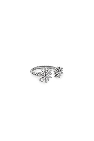 David Yurman Starburst Bypass Ring with Pave Diamonds, Size 6-9