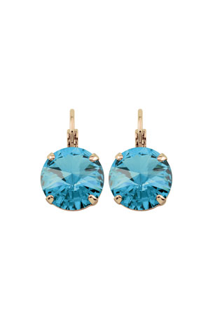 Rebekah Price Aquamarine Drop Earrings on Light Gold