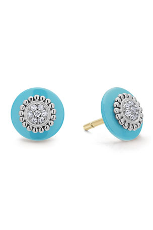 Lagos Caviar Pave Diamond 12mm Stud Earrings