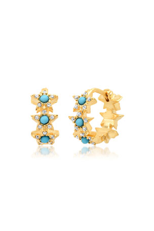 Tai Star Huggie Earrings, Turquoise