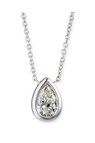 Roberto Coin 18k White Gold Solitaire Diamond Pear Necklace