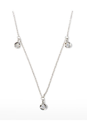 Roberto Coin 18k White Gold 3-Diamond Dangle Necklace