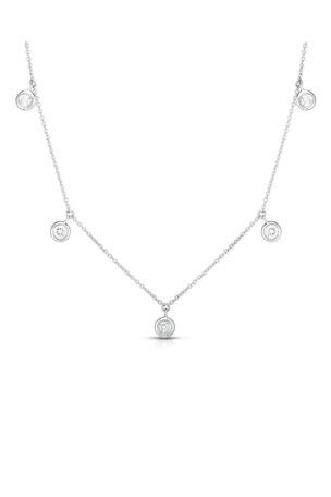 Roberto Coin 18k White Gold 5-Diamond Dangle Necklace