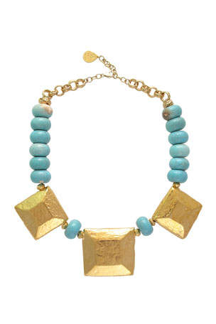 Devon Leigh Turquoise and Square Medallion Necklace
