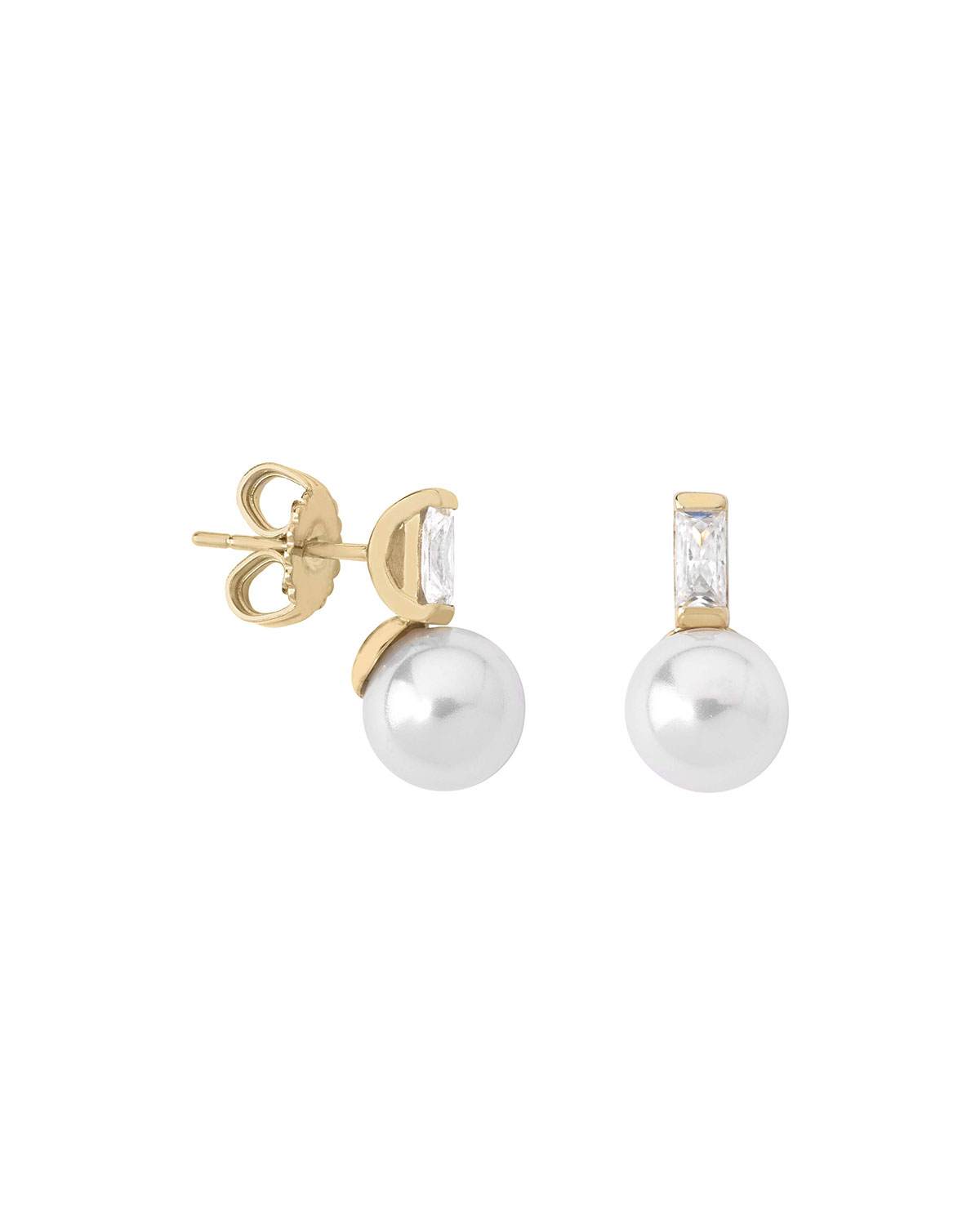 Majorica 8mm Pearl and Crystal Drop Earrings, White