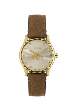 Gucci 29mm G-Timeless Bee Watch with Taupe Leather Strap