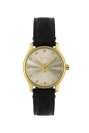 Gucci 29mm G-Timeless Bee Watch with Black Leather Strap