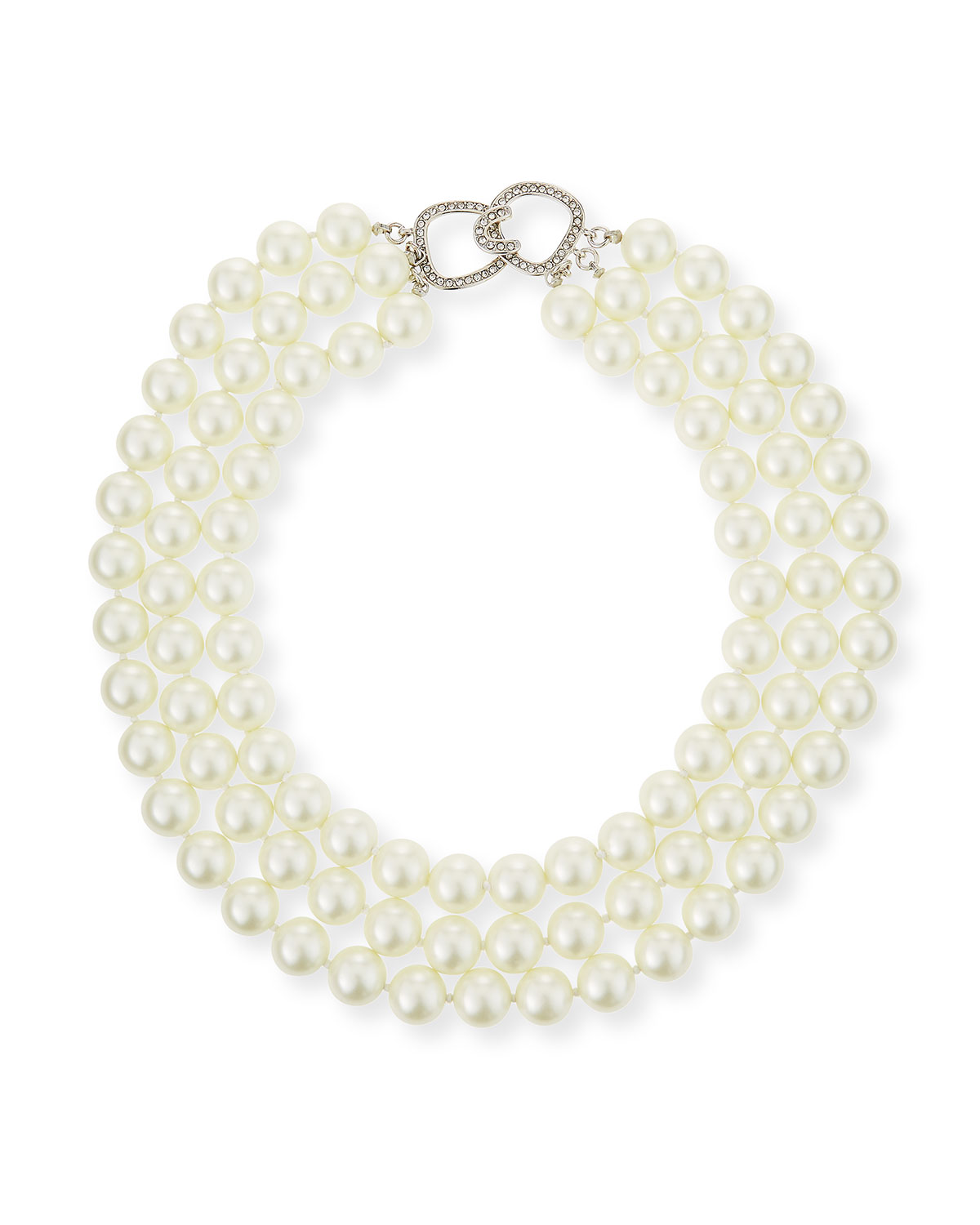 "Kenneth Jay Lane 3-Row Pearly Necklace, 16""L"