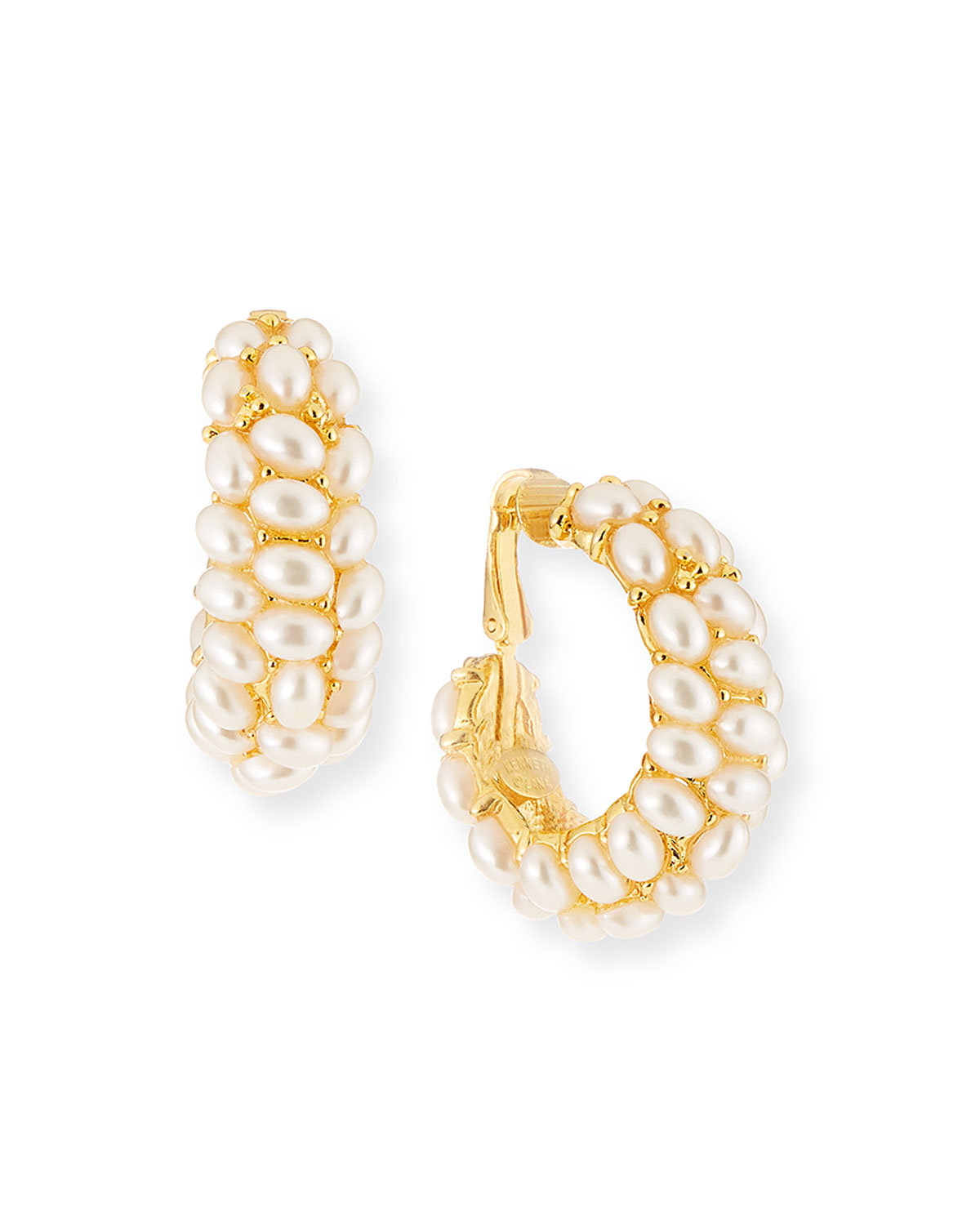 Kenneth Jay Lane Cabochon C-Hoop Clip Earrings, Pearly White