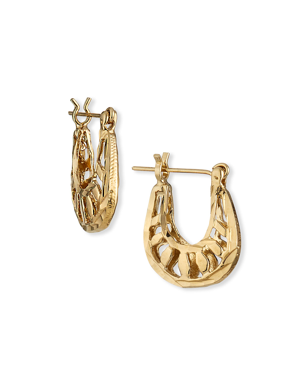 Devon Leigh Small Gold Filigree Hoop Post Earrings
