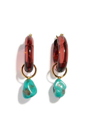 Lizzie Fortunato Mini Spritz Hoop Earrings with Detachable Turquoise