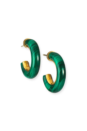 NEST Jewelry Small Malachite Hoop Earrings