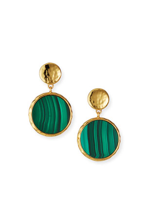 NEST Jewelry Malachite Bezel Disc Earrings
