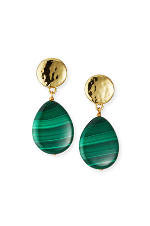 NEST Jewelry Malachite Teardrop Earrings