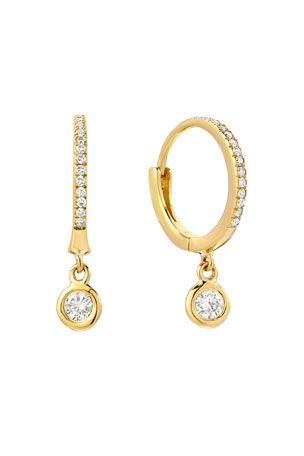 Zoe Lev Jewelry 14k Gold Diamond Huggie Earrings with Bezel Drops