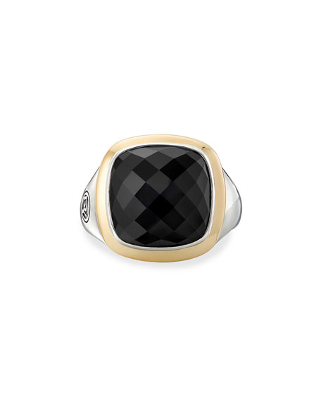 David Yurman 14mm Albion Cushion Ring w/ 18k Gold & Onyx, Size 5-8