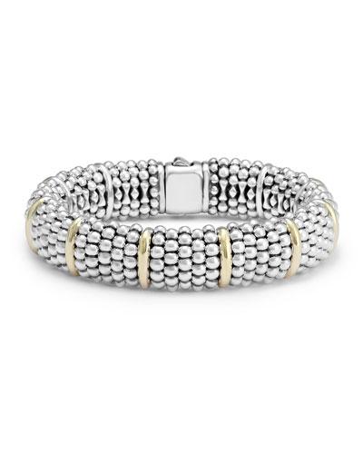 Silver Caviar Oval Bracelet with 18k Gold  15mm