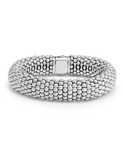 Silver Caviar Oval Bracelet  15mm