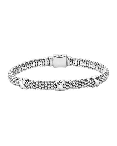 Silver X Rope Bracelet  6mm