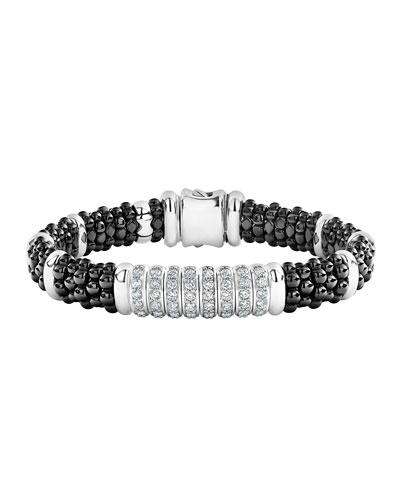 Black Caviar Diamond 8-Link Bracelet - 9mm  Size M