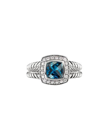 David Yurman Petite Albion Ring with Hampton Blue Topaz & Diamonds