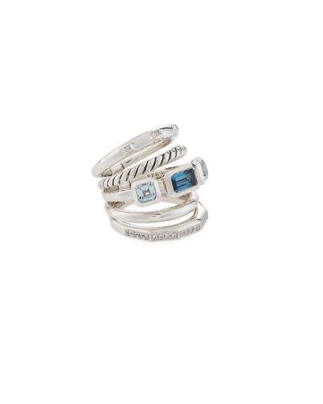 David Yurman Stax Wide Blue Topaz & Diamond Ring, Size 9