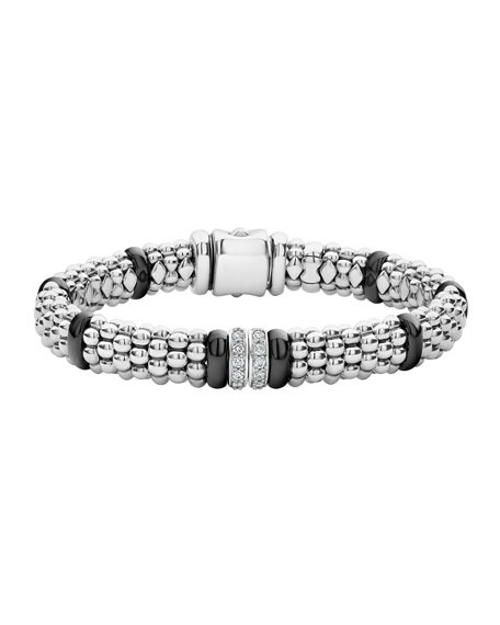 Lagos BLACK CAVIAR 2-DIAMOND STATION BRACELET