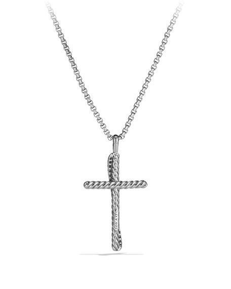 Pave Diamond Crossover Cross Necklace